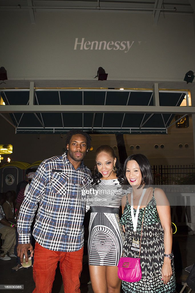 Antonio Cromartie and Terrica Cromartie enjoy themselves before the start of the 2 Chainz concert with Hennessy V.S at Aloha Tower Marketplace on January 24, 2013 in Honolulu, Hawaii.