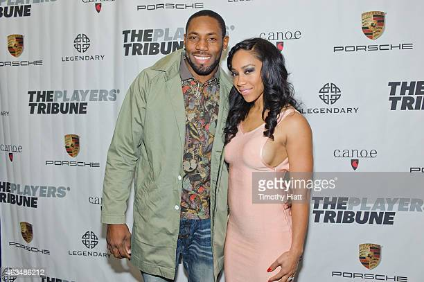 Antonio Cromartie and Terricka Carson attend The Players' Tribune Launch Party wwwtheplayerstribunecom at Canoe Studios on February 14 2015 in New...