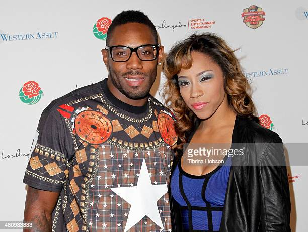 Antonio Cromartie and Terricka Cason attend the 2014 Tournament of Roses and the Los Angeles Sports Entertainment Commission's national championship...