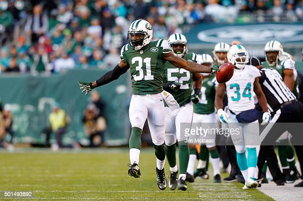 Antonio Cromartie of the New York Jets in action against the Miami Dolphins on November 29 2015 at MetLife Stadium in East Rutherford New Jersey The...