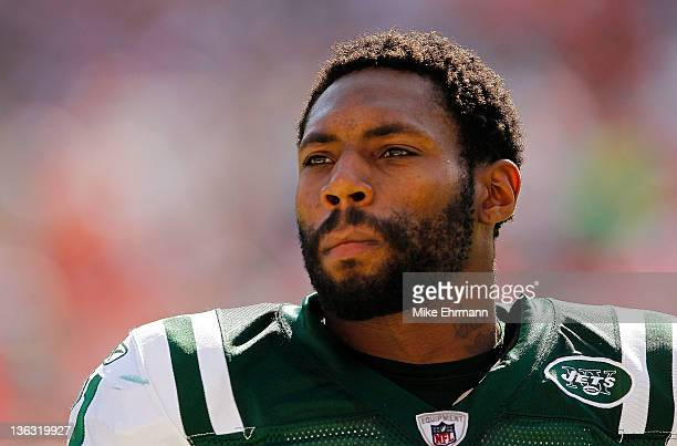 Antonio Cromartie of the New York Jets looks on during a game against the Miami Dolphins at Sun Life Stadium on January 1 2012 in Miami Gardens...