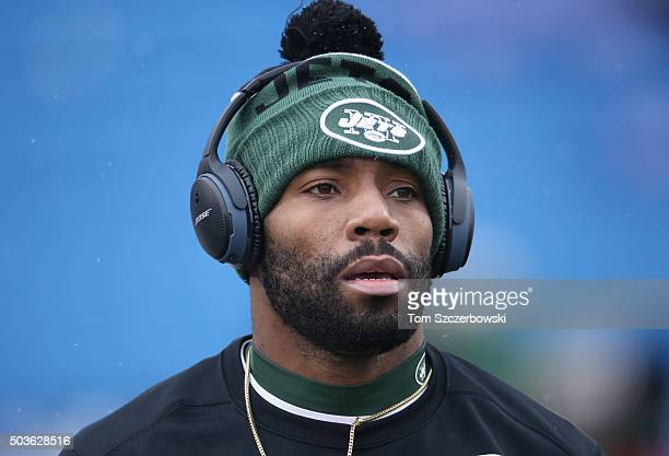 Antonio Cromartie of the New York Jets warms up before playing against the Buffalo Bills during NFL game action at Ralph Wilson Stadium on January 3...