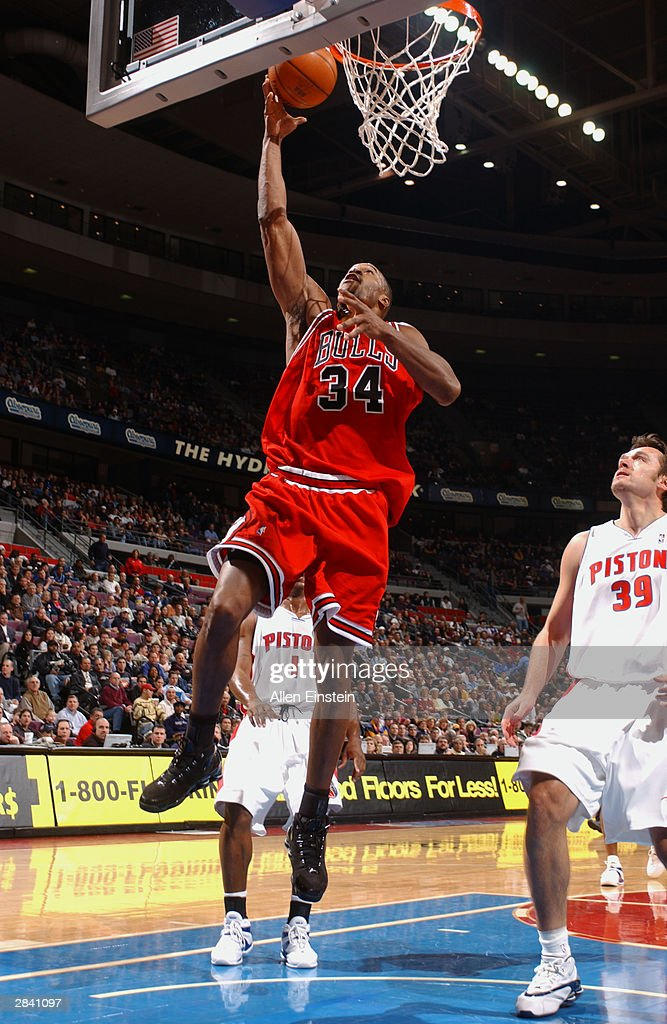 Antonio Davis of the Chicago Bulls shoots a layup against the Detroit Pistons during the game at the Palace of Auburn Hills on December 17 2003 in...