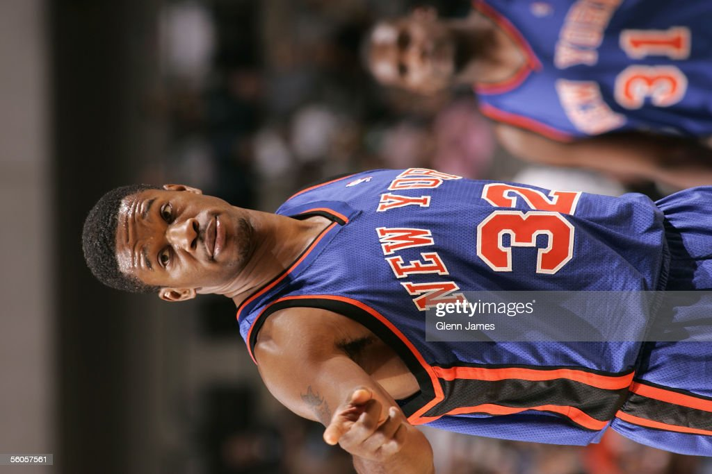 Antonio Davis of the New York Knicks points during the preseason game against the Dallas Mavericks at American Airlines Arena on October 21 2005 in...