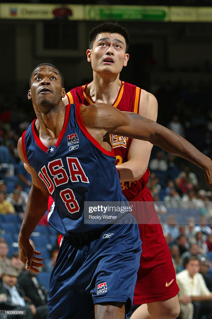 <a gi-track='captionPersonalityLinkClicked' href=/galleries/search?phrase=Antonio+Davis&family=editorial&specificpeople=201981 ng-click='$event.stopPropagation()'>Antonio Davis</a> #8 of the USA Basketball Men's Championship Team boxes out <a gi-track='captionPersonalityLinkClicked' href=/galleries/search?phrase=Yao+Ming&family=editorial&specificpeople=201476 ng-click='$event.stopPropagation()'>Yao Ming</a> #13 of the China Men's World Championship Team at The Arena in Oakland, California.
