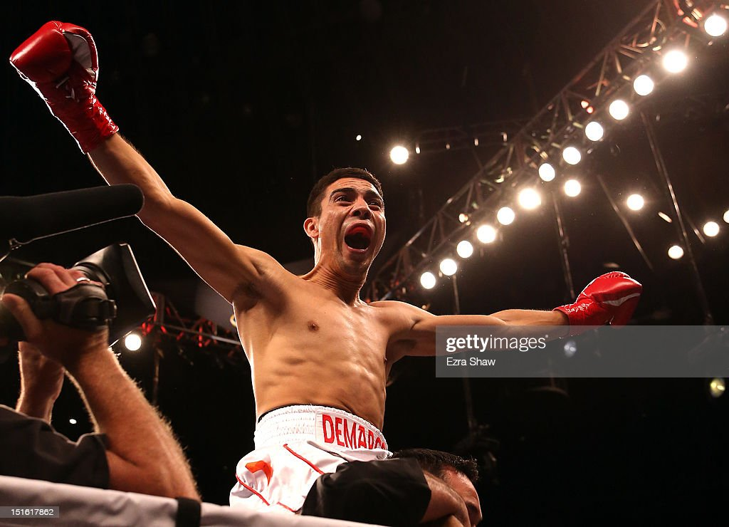 Antonio Demarco celebrates after he beat John Molina Jr. in their WBC Lightweight Championship bout at ORACLE Arena on September 8, 2012 in Oakland, California. Demarco knocked Molina out in the first round.