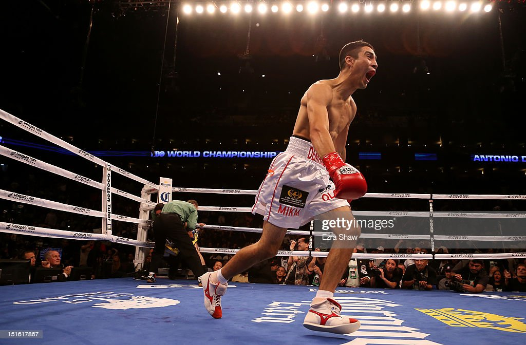 Antonio Demarco celebrates after he knocked out John Molina Jr. in the first round of their WBC Lightweight Championship bout at ORACLE Arena on September 8, 2012 in Oakland, California.