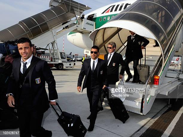 Antonio Di Natale and Fabio Quagliarella of Italy's World Cup Football Team Arrives At Fiumicino Airport on June 26 2010 in Rome Italy