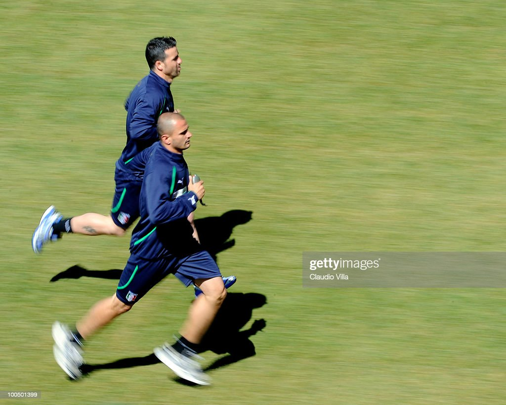 Antonio Di Natale and Simone Pepe of Italy during the Italy Training Session on May 25, 2010 in Sestriere near Turin, Italy.