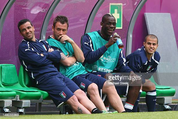 Antonio Di Natale Antonio Cassano Mario Balotelli and Sebastian Giovinco of Italy during a UEFA EURO 2012 training session at the Municipal Stadium...