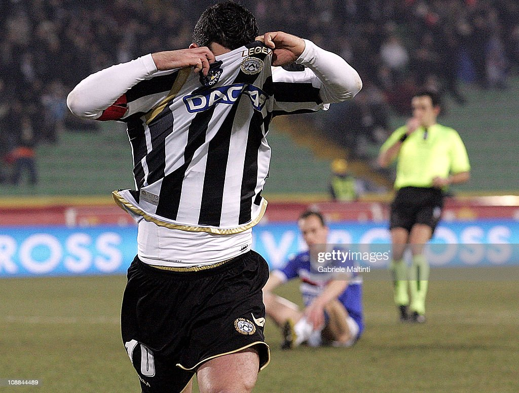 <a gi-track='captionPersonalityLinkClicked' href=/galleries/search?phrase=Antonio+Di+Natale&family=editorial&specificpeople=727545 ng-click='$event.stopPropagation()'>Antonio Di Natale</a> of Udinese Calcio celebrates after scoring a goal during the Serie A match between Udinese Calcio and UC Sampdoria at Stadio Friuli on February 5, 2011 in Udine, Italy.