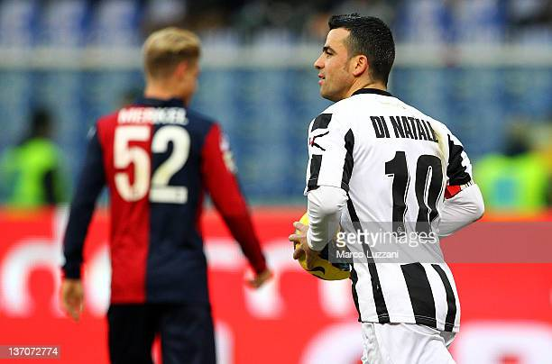 Antonio Di Natale of Udinese Calcio celebrates after scoring a goal during the Serie A match between Genoa CFC and Udinese Calcio at Stadio Luigi...