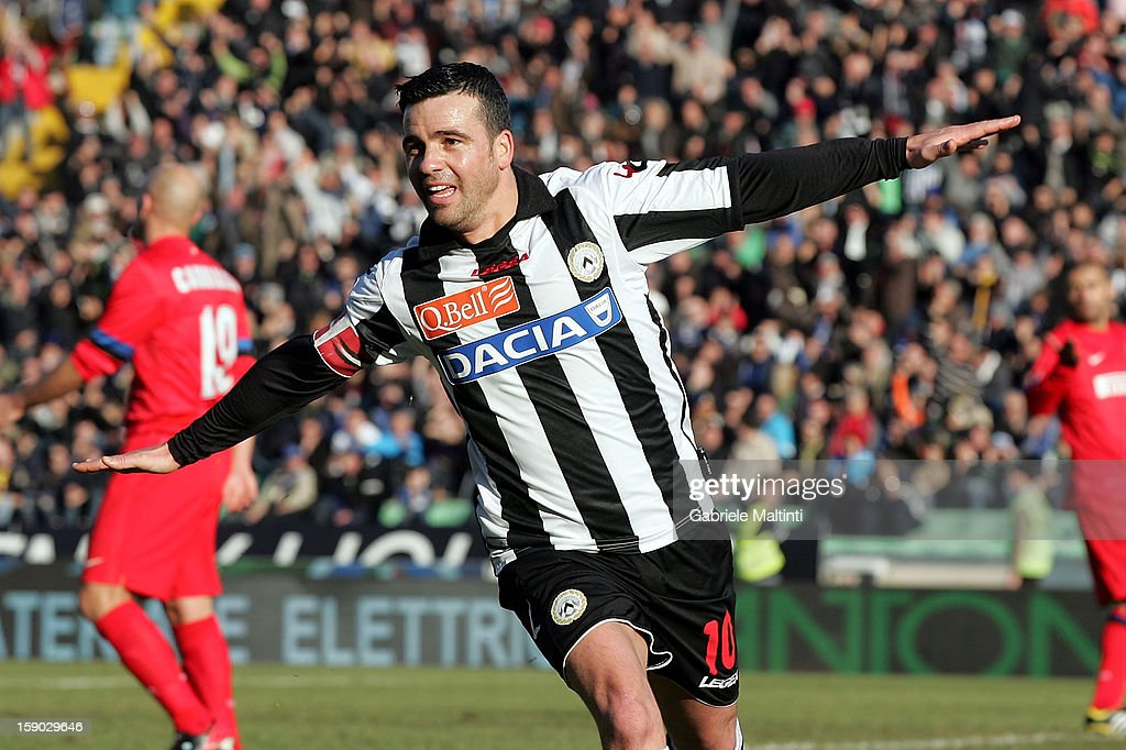 Antonio Di Natale of Udinese Calcio celebrates after scoring a goal during the Serie A match between Udinese Calcio and FC Internazionale Milan at...