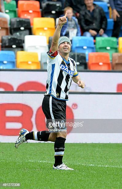 Antonio Di Natale of Udinese Calcio celebrates after scoring his opening goal during the Serie A match between Udinese Calcio and Genoa CFC at Stadio...
