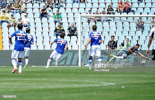 Antonio Di Natale of Udinese Calcio scores his opening goal during the Serie A match between Udinese Calcio and UC Sampdoria at Stadio Friuli on May...