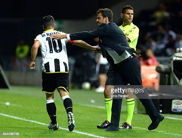 Antonio Di Natale of Udinese celebrates with Head coach of Udinese Andrea Stramaccioni after scoring his opening goal during the Serie A match...