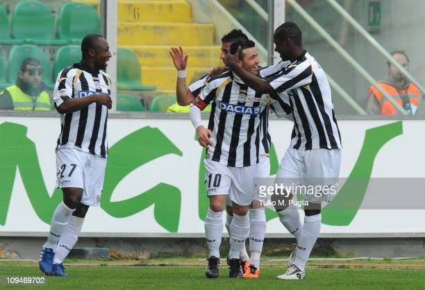Antonio Di Natale of Udinese celebrates with his teammates after scoring the opening goal during the Serie A match between US Citta di Palermo and...