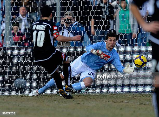 Antonio Di Natale of Udinese scores the penalty during the Serie A match between Udinese and Napoli at Stadio Friuli on February 7 2010 in Udine Italy