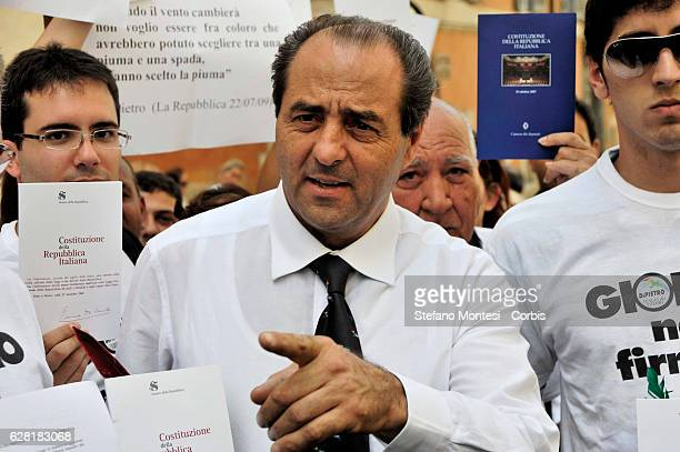 Antonio Di Pietro with the Italian Constitution during the demostration of the Party Italy of Values outside the Quirinal Palace to ask the President...