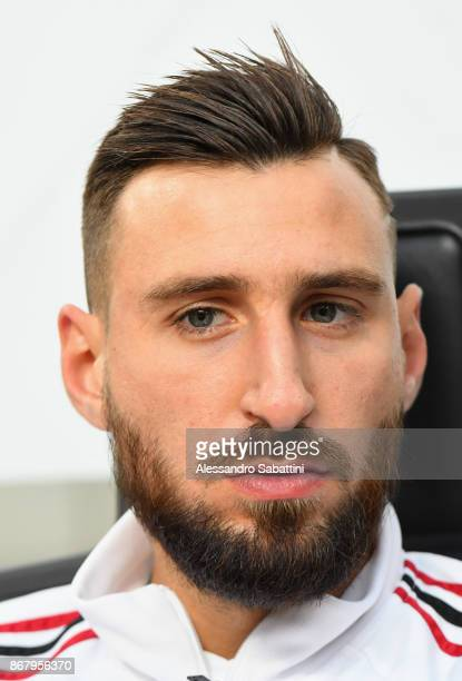 Antonio Donnarumma of AC Milan looks on before the Serie A match between AC Milan and Juventus at Stadio Giuseppe Meazza on October 28 2017 in Milan...