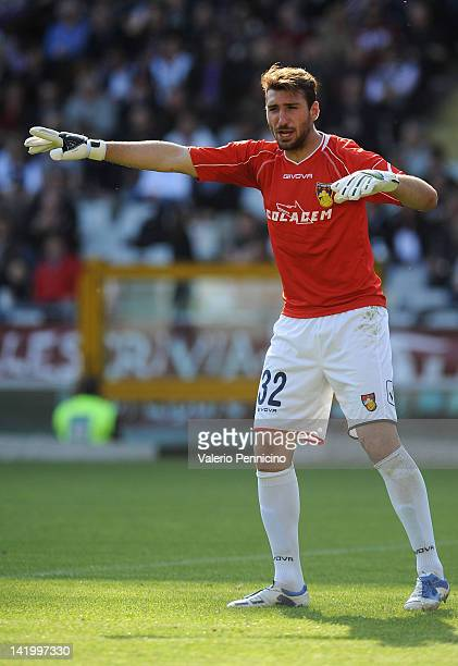 Antonio Donnarumma of AS Gubbio issues instructions during the Serie B match between Torino FC and AS Gubbio at Olimpico Stadium on March 24 2012 in...