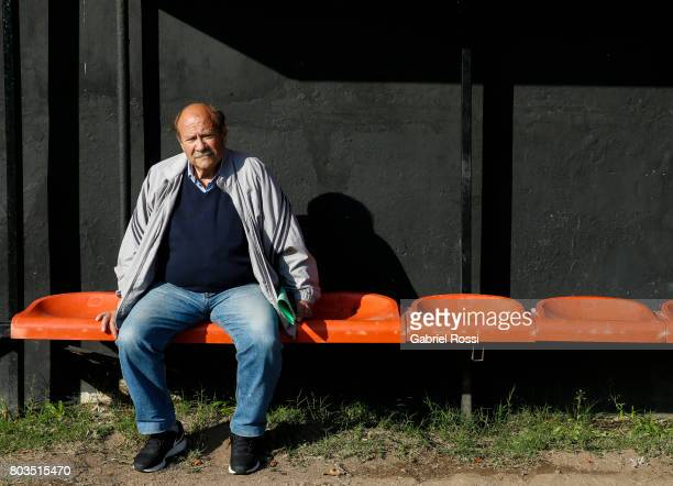 Antonio Enrique Dominguez coach of Lionel Messi between 1999 and 2000 poses for pictures at Newell's Old Boys' Malvinas Sports Complex for Junior...