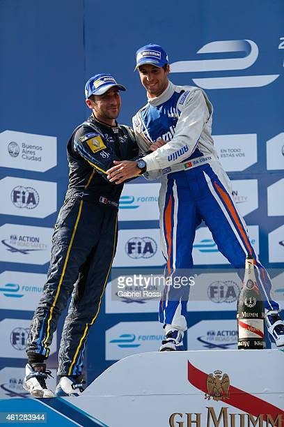 Antonio Felix da Costa of Portugal and Amlin Aguri Formula E Team greets Nicolas Prost of France and edams Renault Formula E Team at the podium after...