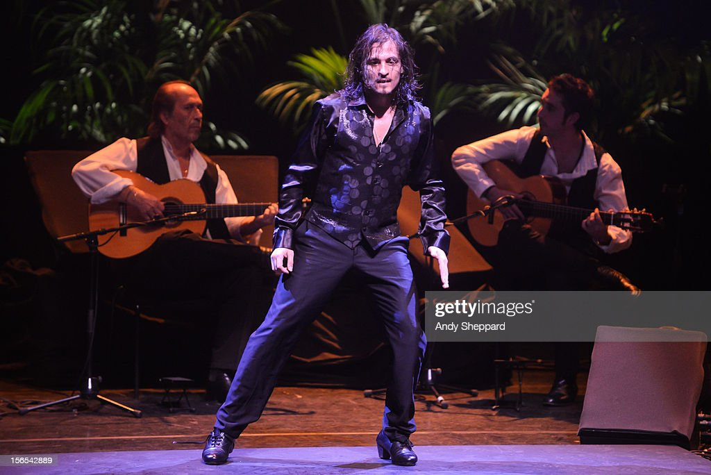 Antonio Fernandez Montoya (C) aka Farruco and El Farro performs on stage with Flamenco guitarist Paco De Lucia (L) at Royal Festival Hall during the London Jazz Festival 2012 on November 16, 2012 in London, United Kingdom.