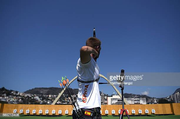 Antonio Fernandez of Spain in action during a training session at the Sambodromo Olympic Archery venue on August 2 2016 in Rio de Janeiro Brazil