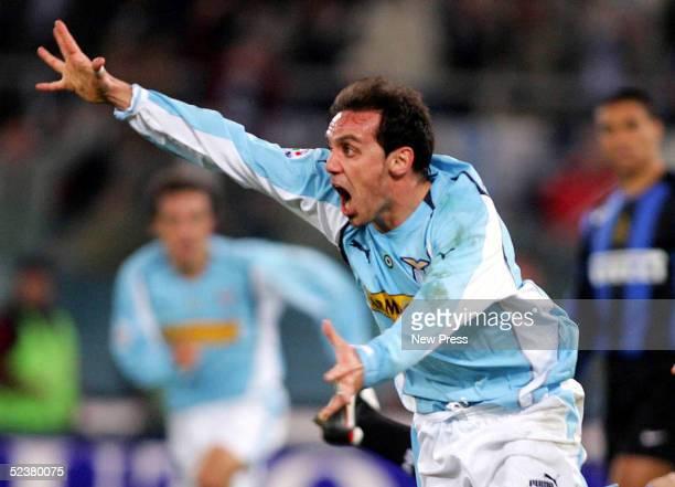 Antonio Filippini of Lazio celebrates a goal during their match against Inter Milan March 12 2005 in Stadio Olimpico in Rome Italy