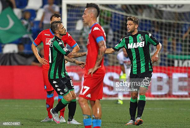 Antonio Floro Flores of US Sassuolo Calcio celebrates his goal with his teammate Domenico Berardi during the Serie A match between US Sassuolo Calcio...