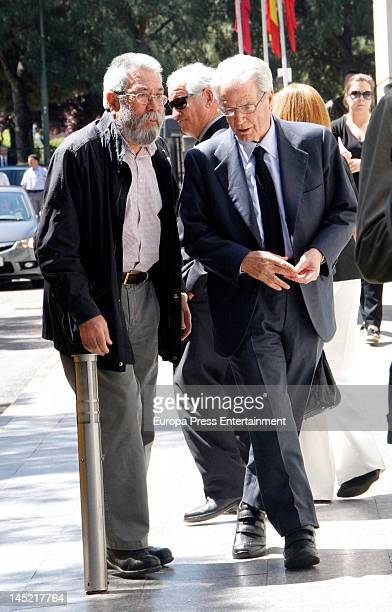 Antonio Garrigues Walker and Candido Mendez attends the funeral of president of Real Madrid Florentino Perez's wife Pitina Sandoval at La Almudena...