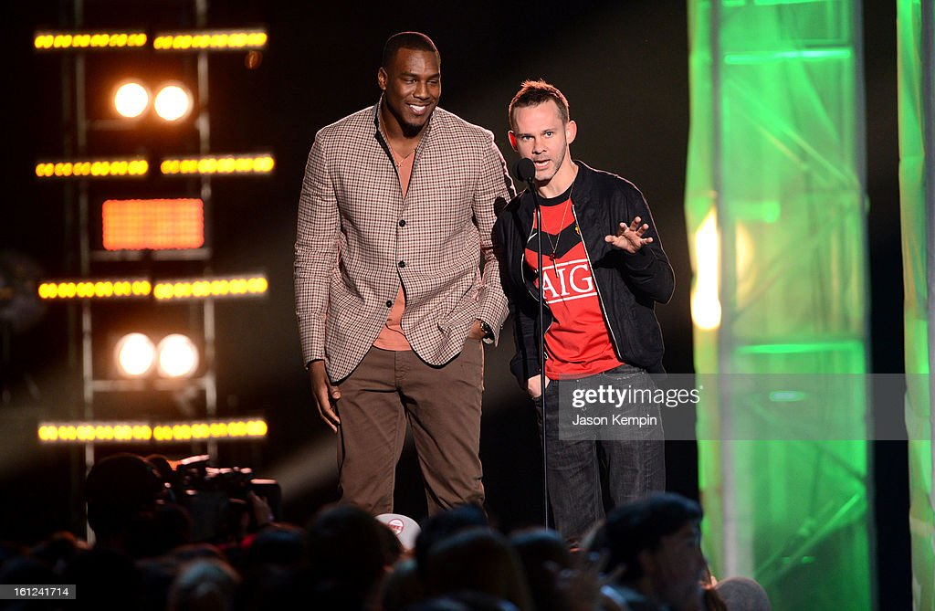 Antonio Gates and Dominic Monaghan speak onstage at the Third Annual Hall of Game Awards hosted by Cartoon Network at Barker Hangar on February 9, 2013 in Santa Monica, California. 23270_003_JK_0078.JPG