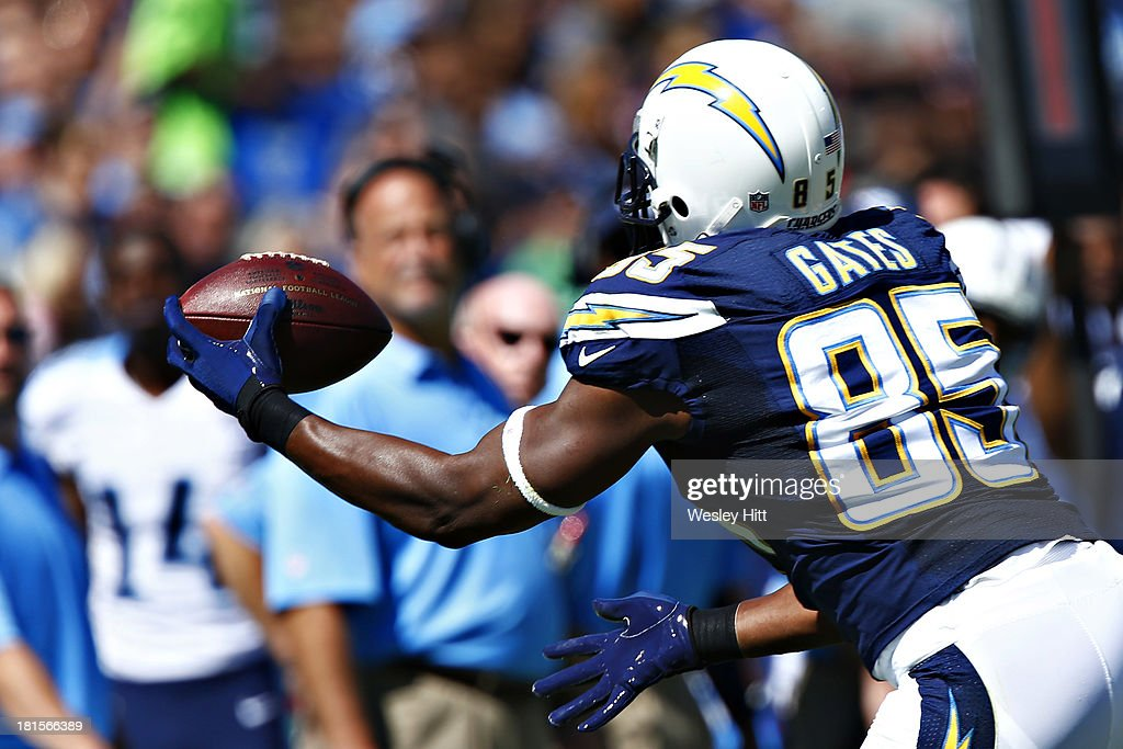 Antonio Gates #85 of the San Diego Chargers makes a one handed catch near the sidelines during a game against the Tennessee Titans at LP Field on September 22, 2013 in Nashville, Tennessee.