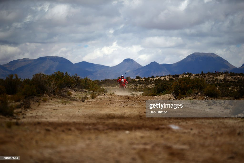 Antonio Gimeno Garcia of Spain and KTM Himoinsa rides a 450 Rally KTM bike in the Classe 2.1 : Super Production during stage seven of the 2017 Dakar Rally between La Paz and Uyuni on January 9, 2017 at an unspecified location in Bolivia.