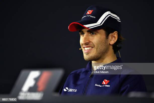 Antonio Giovinazzi of Italy and Sauber F1 in the Drivers Press Conference during previews to the Formula One Grand Prix of China at Shanghai...