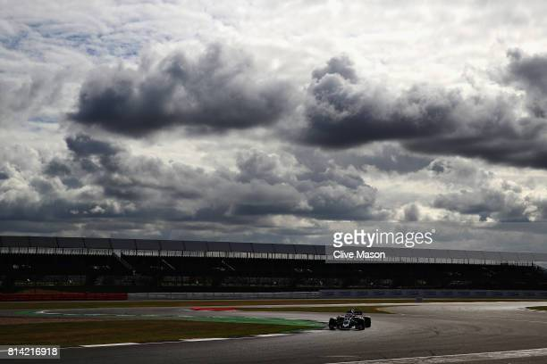 Antonio Giovinazzi of Italy driving the Haas F1 Team HaasFerrari VF17 Ferrari on track during practice for the Formula One Grand Prix of Great...