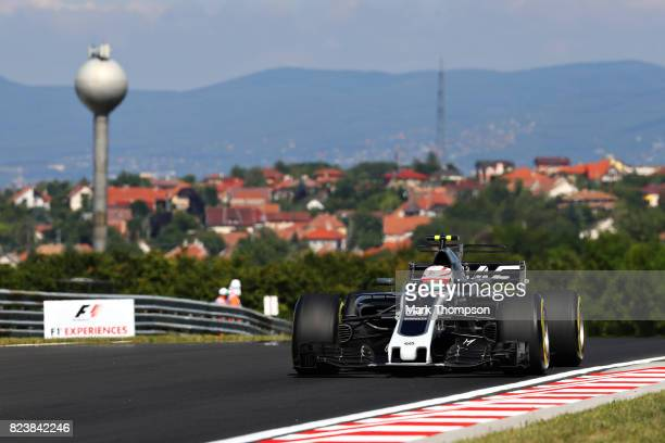 Antonio Giovinazzi of Italy driving the Haas F1 Team HaasFerrari VF17 Ferrari on track during practice for the Formula One Grand Prix of Hungary at...