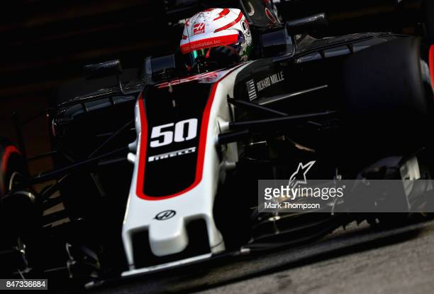 Antonio Giovinazzi of Italy driving the Haas F1 Team HaasFerrari VF17 Ferrari on track during practice for the Formula One Grand Prix of Singapore at...