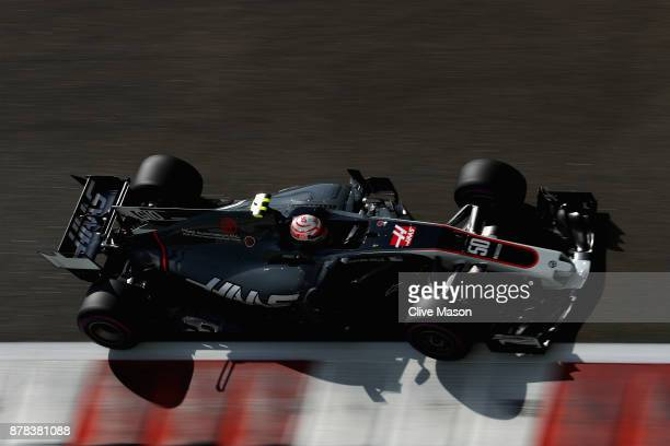 Antonio Giovinazzi of Italy driving the Haas F1 Team HaasFerrari VF17 Ferrari on track during practice for the Abu Dhabi Formula One Grand Prix at...