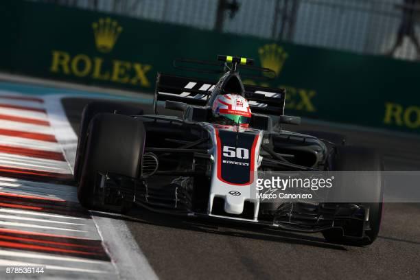 Antonio Giovinazzi of Italy driving the Haas F1 Team HaasFerrari VF17 Ferrari on track during practice for the Abu Dhabi Formula One Grand Prix