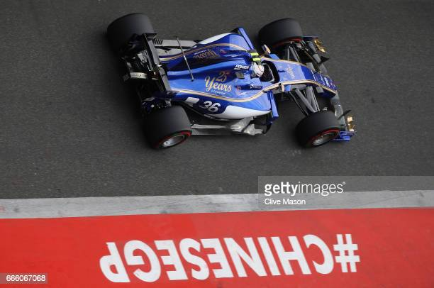 Antonio Giovinazzi of Italy driving the Sauber F1 Team Sauber C36 Ferrari in the Pitlane during qualifying for the Formula One Grand Prix of China at...