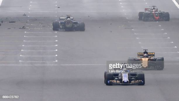 Antonio Giovinazzi of Italy driving the Sauber F1 Team Sauber C36 Ferrari crashes into the wall during the Formula One Grand Prix of China at...