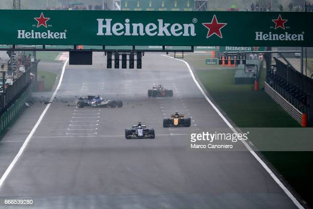 Antonio Giovinazzi of Italy driving the Sauber F1 Team Sauber C36 Ferrari crashes during the Formula One Grand Prix of China