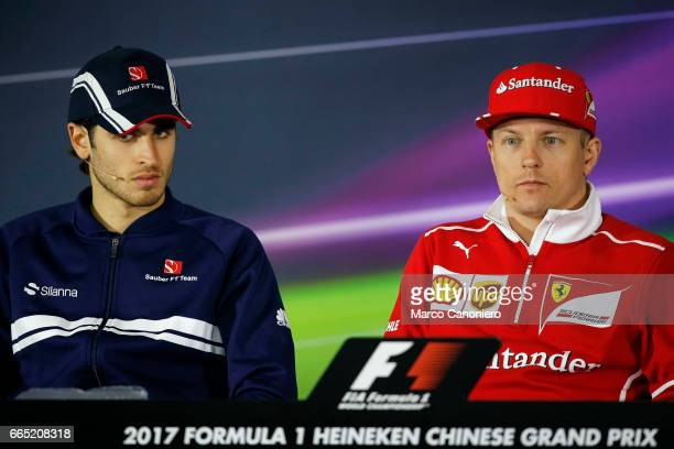 Antonio Giovinazzi of Sauber and Kimi Raikkonen of Ferrari during press conference of the Formula One Grand Prix of China