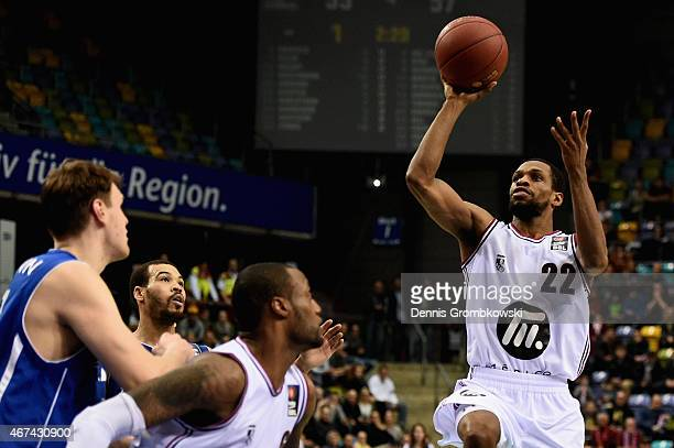 Antonio Graves of Artland Dragons goes for two during the Basketball Beko BBL match between Fraport Skyliners and Artland Dragons at Fraport Arena on...