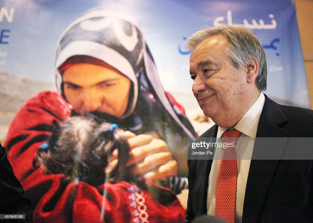 <a gi-track='captionPersonalityLinkClicked' href=/galleries/search?phrase=Antonio+Guterres&family=editorial&specificpeople=553912 ng-click='$event.stopPropagation()'>Antonio Guterres</a>, the UN agency for refugees (UNHCR) High Commissioner, holds a press conference about Syrian refugee women July 8, 2014 in Amman, Jordan. Guterres warned that 145.000 Syrian refugee women fight for survival as they head families alone after being separated from their husbands by death, being captured or other circumstances. the high commissioner called for cash donations to extend a program helping to meet the needs of the worst off refugees.