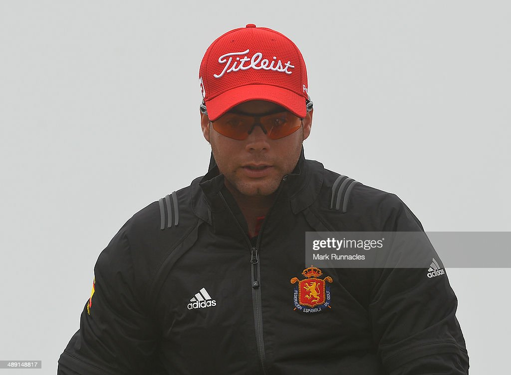 Antonio Hortal of Spain waits on the 17th tee during a fog delay at the during the Madeira Islands Open - Portugal - BPI at Club de Golf do Santo da Serra on May 10, 2014 in Funchal, Madeira, Port gal.