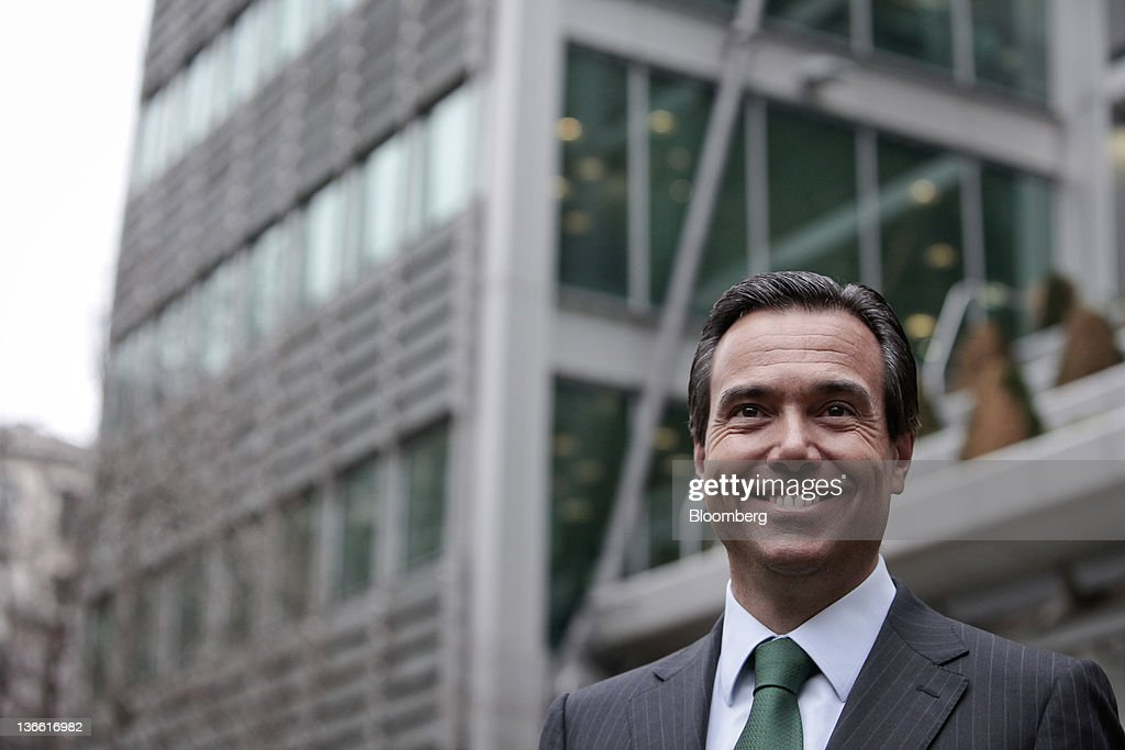 Antonio Horta-Osorio, chief executive officer of Lloyds Banking Group Plc, poses for a photograph outside the company's headquarters after returning to work in London, U.K., on Monday, Jan. 9, 2012. Horta-Osorio said he was 'thrilled to be back' and was 'looking forward to working with colleagues again.' Photographer: Jason Alden/Bloomberg via Getty Images