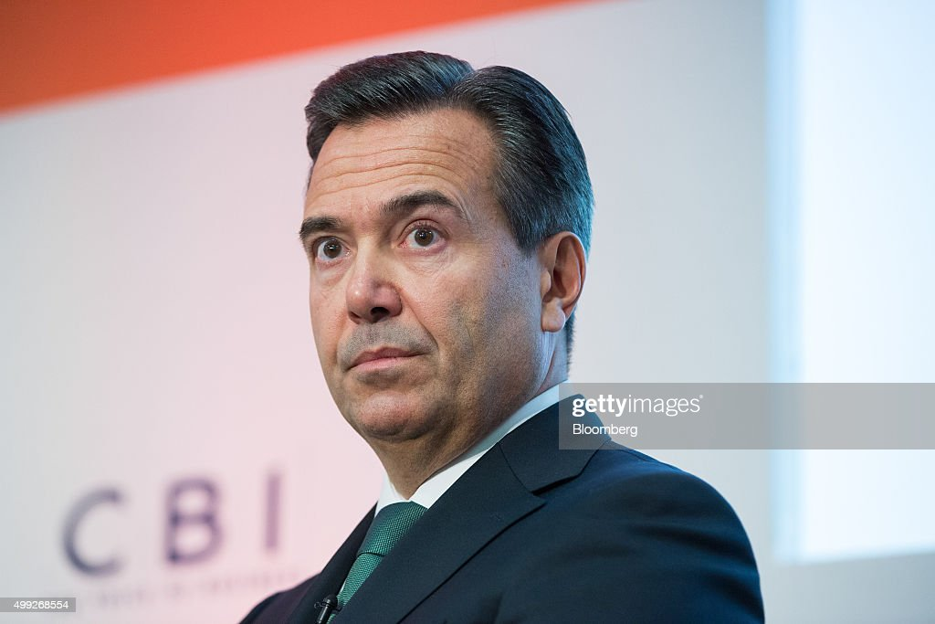 Antonio Horta-Osorio, chief executive officer of Lloyds Banking Group Plc, pauses at the MSB Summit 2015 in the City of London, U.K., on Monday, Nov. 30, 2015. The pound fell to its weakest level in seven months as the newest member of the Bank of Englands Monetary Policy Committee said he's relaxed about keeping interest rates at a record low for now, reinforcing the dovish stance adopted by colleagues including Governor Mark Carney. Photographer: Jason Alden/Bloomberg via Getty Images